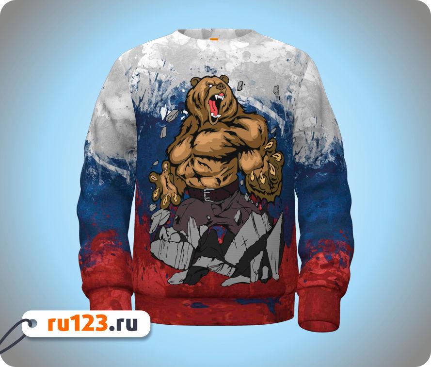 медведь с флагом россии картинки